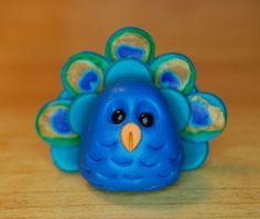polymer clay miniature peacock by SMarrtCreations on Etsy, $10.00