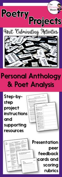 These poetry projects are the perfect way to culminate your poetry unit. Students have the option of analyzing a poet or creating their own poetry anthology. Both project choices end with a presentation. English Lesson Plans, English Lessons, Writing Prompts Poetry, Poetry Projects, Poetry Lessons, English Language, Language Arts, High School, Middle School