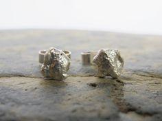 Organic sterling silver 'stone' stud by SilverJewelleryHS on Etsy www.silver-handmadejewellery.blogspot.co.uk/