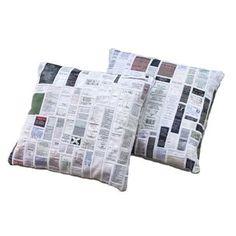 Coussins realisés avec des etiquettesd entretien de textiles recyclés  150.00 - Pieces uniques  http://www.piecesofyou.co.uk