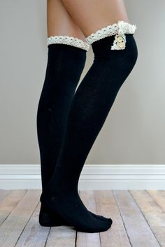8261fac00 Black Over-the-Knee Antique Lace and Button Boot Socks