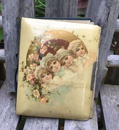 Antique Photo Album Young Girls Victorian Era with Roses Some Photos Includ Mich