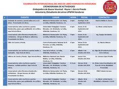 La Universidad Pedagógica Nacional Francisco Morazán presenta la Agenda de Eventos de la Celebración Internacional del Mes del Libro Hispano en Honduras.