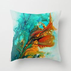 Turquoise Pillow, Abstract Art Pillow, Unique Throw Pillow Cover, Decorative Pillow, Cushion Cover, Sofa Pillows, Teal Blue Gold Pillow