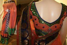 Peach Designer Saree | Saree Blouse Patterns