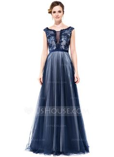 aca75f61fe3e A-Line Princess Scoop Neck Floor-Length Tulle Charmeuse Prom Dress With Lace  Beading Sequins