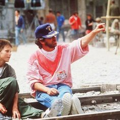 Young Christian Bale & Steven Spielberg