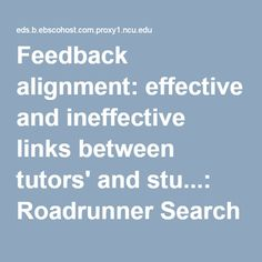 Feedback alignment: effective and ineffective links between tutors' and stu...: Roadrunner Search Discovery Service