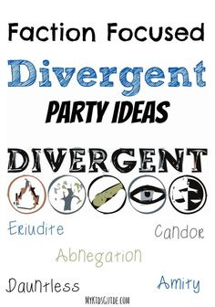 Looking for a cool party idea for teens? Check out our faction-focused Divergent party ideas and DIY party games! Which faction will your guests choose? (Cool Crafts For Sleepovers) Indoor Party Games, Diy Party Games, Party Ideas, Party Favors, 13th Birthday Parties, Slumber Parties, Birthday Ideas, 15 Birthday, Sleepover