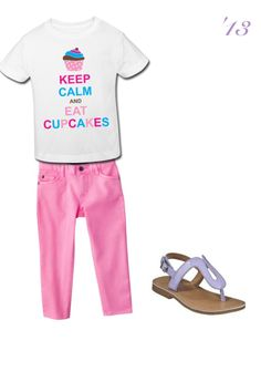 Super cute stay calm and eat cupcakes toddler girl outfit combo! #stylish #thongsandals #pink #skinny #jeans #trendy #adorable #babygirl