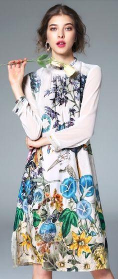 Multicolor Beach Silk Long Sleeve modest midi dress