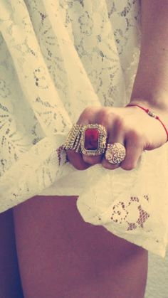 white lace; red ring