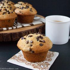 The BEST go-to recipe for homemade chocolate chip muffins. This is a moist bakery style muffin, loaded with chocolate chips and a sky-high crispy muffin top.