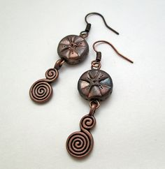 Medium long dangle earrings with handmade by polymerclaybijoux, $10.00