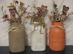 by Joan Larson mason jars with 'Love Fall' rusty hearts