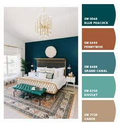 Bedroom Wall Paint Colors, Guest Room Paint, Boys Bedroom Paint, Paint Colors For Home, Peacock Paint Colors, House Colors, Peacock Color Scheme, Master Bedroom, Boys Room Colors