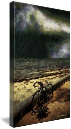 """Bike at the Beach"" ~ © 2016 RC deWinter ~ A lone bicycle sits by the shore on a summer night at Long Beach Island, New Jersey. Shown here as 32"" X 19"" canvas. Available in a variety of media, sizes and configurations."