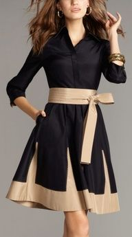 A simple black dress with a neutral sash/belt, you never looked so good heading to work.