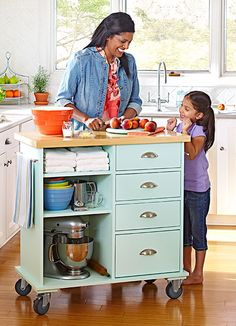 small kitchen island diy - Google Search Since mine needs to just go up against a wall, I'd put legs on (or smaller casters).