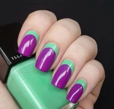 Purple & Green Nails