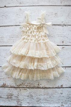 Flower Girl Dress - Lace Flower girl dress - Baby Lace Dress - Rustic - Country Flower Girl - Lace Dress - Ivory Lace dress -  Bridesmaid