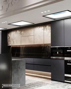 Magnificent kitchen-living room on Behance Luxury Kitchen Design, Kitchen Room Design, Home Room Design, Home Decor Kitchen, Interior Design Kitchen, Kitchen Furniture, Home Kitchens, Kitchen Dining Living, Cuisines Design