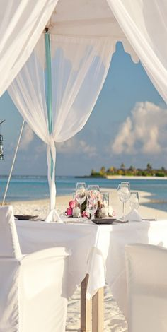 #Naladhu...Maldives. Lunch on the beach - very romantic. For information on the resort, please contact me at: Aspen Creek Travel - karen@aspencreektravel.com