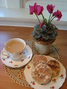Tea and Welsh Cakes  http://joanne-seasonalhearthandhome.blogspot.com/2011/04/oh-to-be-in-england-now-that-april-is.html