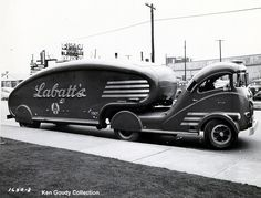 Labatt's Brewing Company 1939 tractor/trailer beer delivery truck. The paint color was red with gold letters.