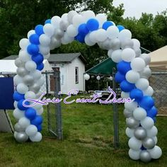 Graduation balloon arch blue and silver