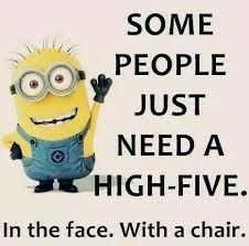 Hilarious!  A very special high five from a Minion.