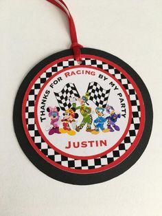Etiquetas de Mickey Roadster Racer Favor 12 etiquetas de