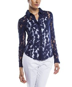 Love this Navy Sheer Floral Button-Up by Isaac Mizrahi New York on #zulily! #zulilyfinds