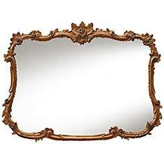 "Buffet 44"" Wide Baroque Gold Leaf Rectangular Wall Mirror"