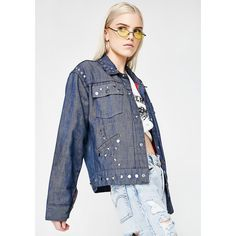 Vintage Studded Denim Jacket ($95) ❤ liked on Polyvore featuring outerwear, jackets, denim, studded jacket, white denim jacket, white jacket, denim jacket and white studded jacket