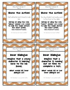 Worksheets Show Don T Tell Worksheets escribiendo respuestas and tarjetas de tareas on show dont tell writing task cards free