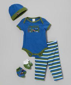 Look at this #zulilyfind! Blue 'Chicks Dig Me' Five-Piece Layette Set - Infant by Baby Essentials #zulilyfinds