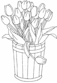 Free Printable Coloring Pages for children - A coloring book Flower Coloring Pages, Coloring Book Pages, Coloring Sheets, Spring Coloring Pages, Fairy Coloring, Embroidery Patterns, Hand Embroidery, Tulip Colors, Digi Stamps