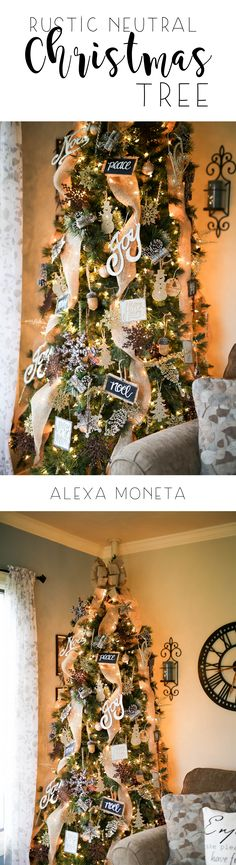 Rustic Neutral Christmas Tree. Farmhouse Christmas Tree. Rustic Christmas Tree.