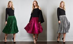 Metallic Pleaded Midi Skirt THE STATEMENT SKIRT FOR THIS SEASON!!! AVAILABLE IN SILVER, MAGENTA & GREEN
