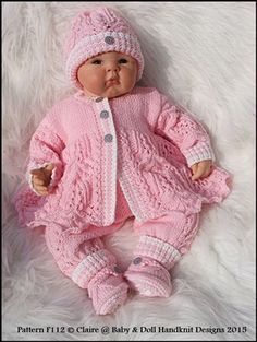 """Lacy Trouser Suit 16-22"""" doll/prem-3m+ baby-knitting pattern, reborn, doll, baby, frost and flowers stitch, babydoll handknit designs, matinee coat, shoes, trousers, beanie"""