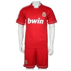 Customized Real Madrid Red Soccer Jersey & Short Kit