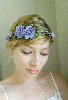 Purple 'Mira' Tiara - Delphinium Wedding Hair Piece - Rustic Woodland Chic. $70.00, via Etsy.