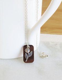 Sterling Silver Rose Necklace Wooden Pendant by wearablewoodjewels