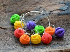 10 Polymer Clay Knitting Stitch Markers by RebbeltjesTouch