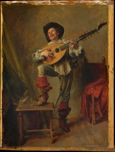 Ernest Meissonier - Soldier Playing the Theorbo - 1865
