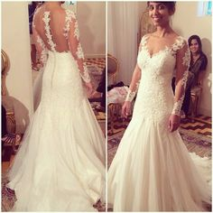 See Though Back Sexy Long Sleeve Wedding Dress