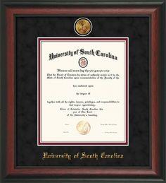 USC Upstate Diploma Frame-Rosewood-w/medallion-black/garnet – Professional Framing Company