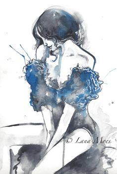 L'Attente - Watercolor Fashion Figurative Illustration by Lana Moes - Original Watercolor, #Fashion Painting, #watercolor, #illustration