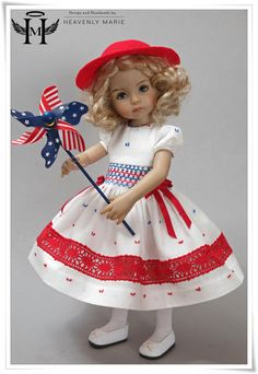 """4th of july Smocked Dress  13"""" Little Darling Effner Clothes by Heavenly Marie   eBay"""